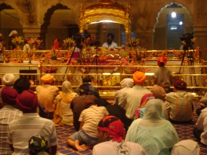 Inside the Sikh Gurdwara near the Red Fort area.